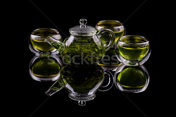 зеленый чай Кубок чайник зеленые листья лист пить Сток-фото © grafvision