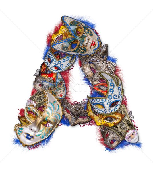 Stok fotoğraf: Mektup · karnaval · maske · tüy · parti · yazı
