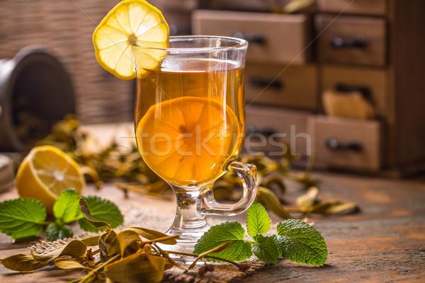 Sağlıklı bitkisel çaylar limon arka plan fincan kupa Stok fotoğraf © grafvision