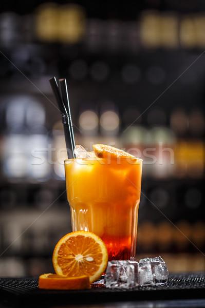 カクテル オレンジジュース アイスキューブ ガラス 夏 氷 ストックフォト © grafvision