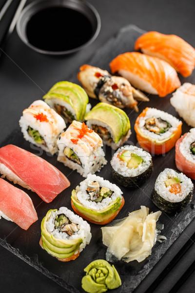 Sashimi sushi rollen ingesteld sojasaus zwarte Stockfoto © grafvision