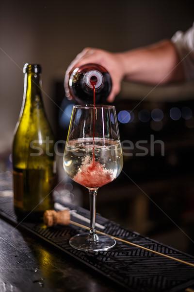 Barmen kokteyl şampanya çilek şurup parti Stok fotoğraf © grafvision