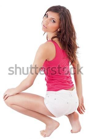 ストックフォト: 美しい · 若い女性 · 孤立した · 白 · ファッション · 美