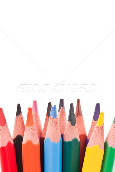 ストックフォト: 色 · 鉛筆 · ポインティング · アップ · 学校 · 塗料