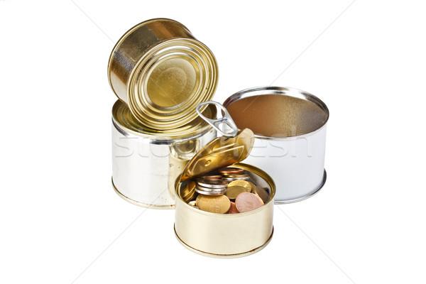Foto stock: Monedas · abierto · estaño · pueden · aislado · blanco