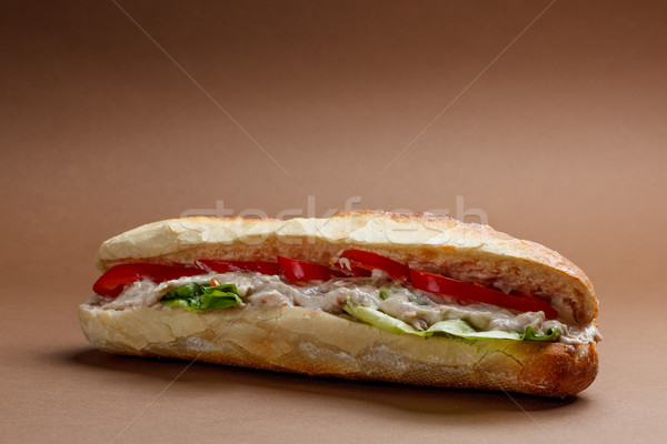 Ton balığı sandviç marul parti balık Stok fotoğraf © grafvision
