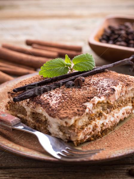 Tiramisu placa alimentos torta leche Foto stock © grafvision