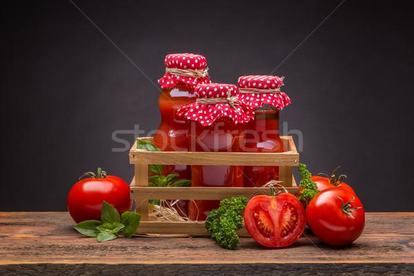 Tomatensap flessen rijp tomaten voedsel glas Stockfoto © grafvision