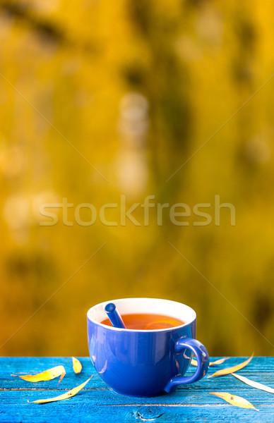 Cup bevanda calda blu tavolo in legno offuscata foresta Foto d'archivio © grafvision