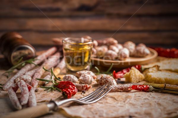 Différent salami vintage alimentaire fond saucisse Photo stock © grafvision