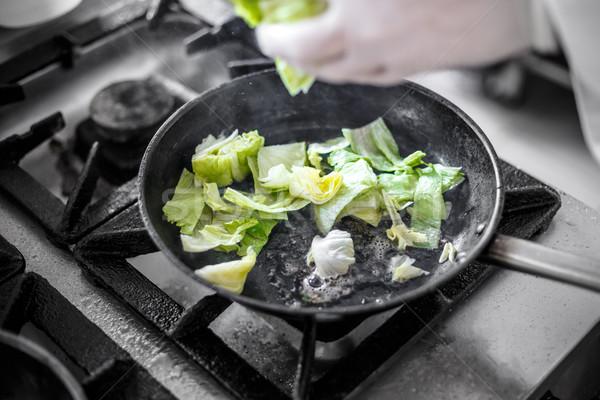 Jéghegy saláta szakács aprított étel konyha Stock fotó © grafvision