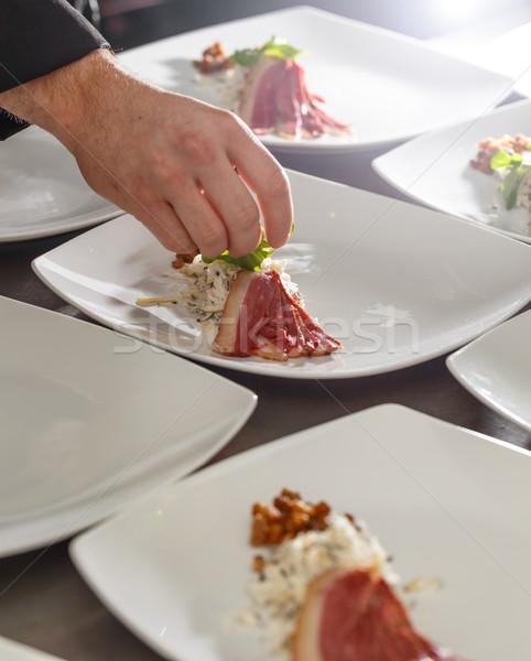 Chef aperitivo placa bebé espinacas aves Foto stock © grafvision