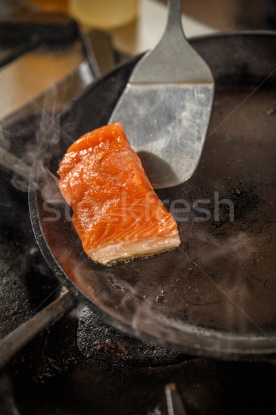 Salmon in the frying pan Stock photo © grafvision