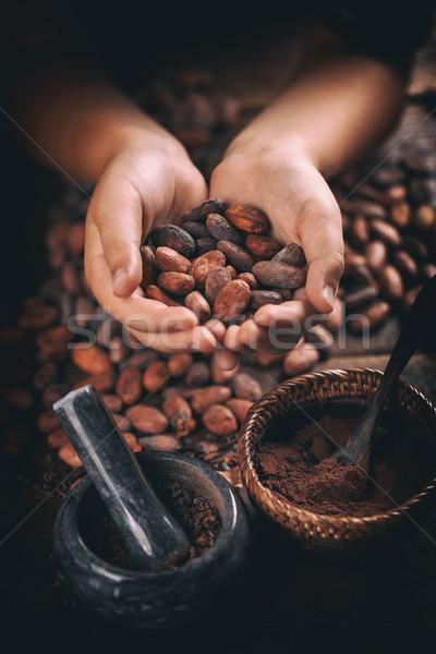 芳香族の 手 クローズアップ チョコレート ストックフォト © grafvision