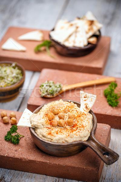 Pita sültkrumpli egészséges házi készítésű krémes étel Stock fotó © grafvision