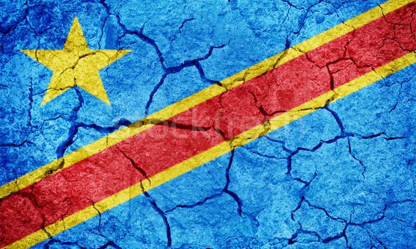 Demokratischen Republik Kongo Flagge trocken Erde Stock foto © grafvision