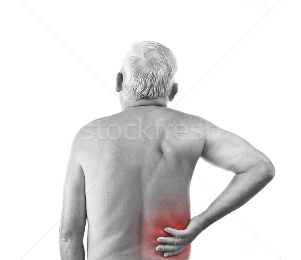Férfi hátfájás idős izolált fehér kéz Stock fotó © grafvision