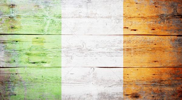 Zászló Írország festett koszos fa palánk Stock fotó © grafvision