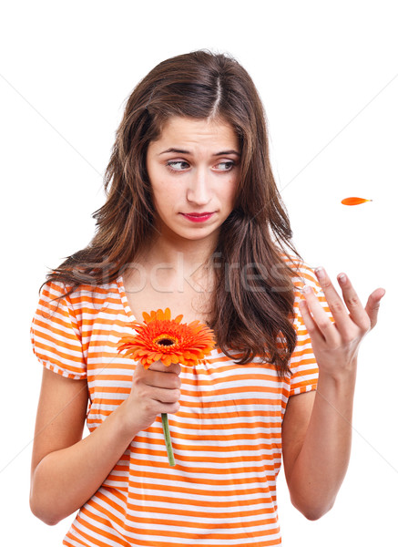 Teen girl with flower Stock photo © grafvision