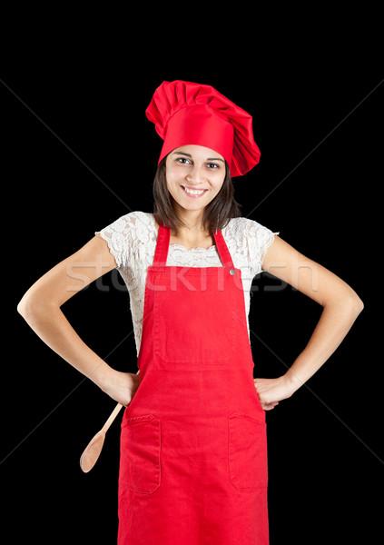 Stock fotó: Szakács · nő · szakács · sapka · fekete · munka