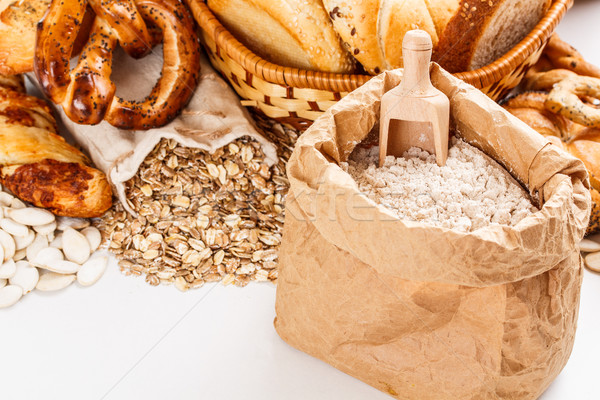 Flour and oat flakes Stock photo © grafvision