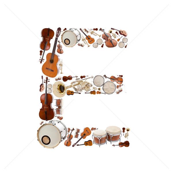 ストックフォト: 楽器 · アルファベット · 白 · ツリー · ギター