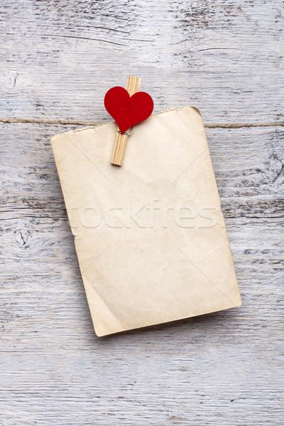 Stockfoto: Blanco · papier · kaarten · opknoping · papier · liefde · hout