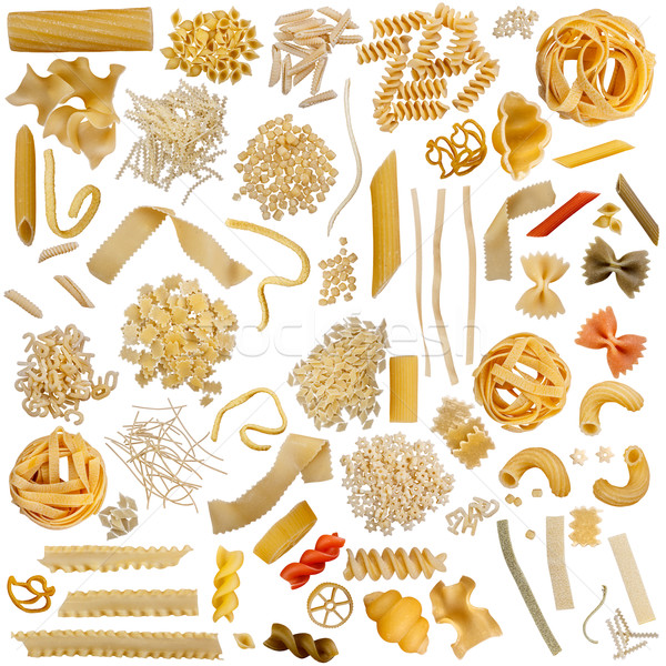 Photo stock: Pâtes · ensemble · isolé · blanche · alimentaire · spaghettis