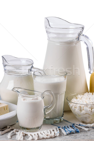 Establecer rústico estilo vidrio queso Foto stock © grafvision