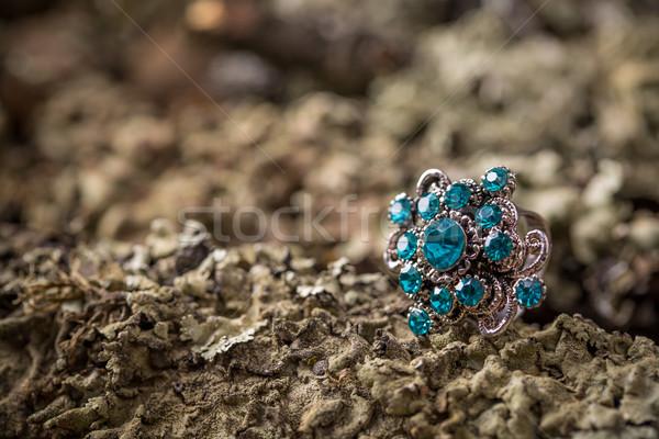 Gyönyörű gyűrű kicsi kék üveg kövek Stock fotó © grafvision