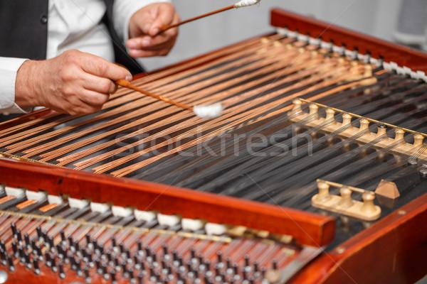музыкальный инструмент играет стороны древесины совета пальца Сток-фото © grafvision