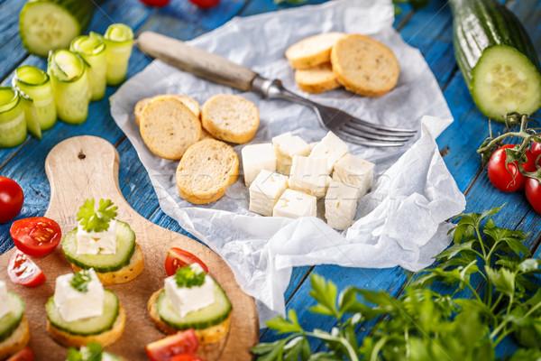 Party mini snack bruschetta cetriolo Foto d'archivio © grafvision