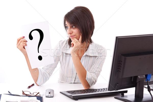 деловой женщины вопросительный знак портрет знак белый служба Сток-фото © grafvision