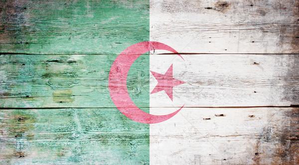 Stockfoto: Vlag · Algerije · geschilderd · hout · plank