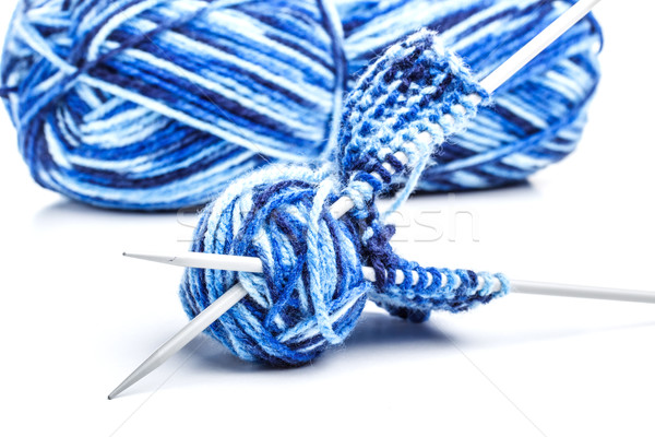 Blue yarn and needles Stock photo © grafvision