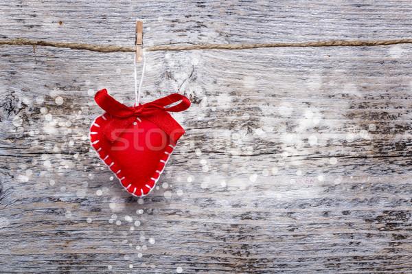 Stockfoto: Valentijn · hart · opknoping · vintage · hout · achtergrond
