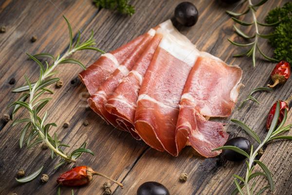 Prosciutto fino fatias vintage carne Foto stock © grafvision