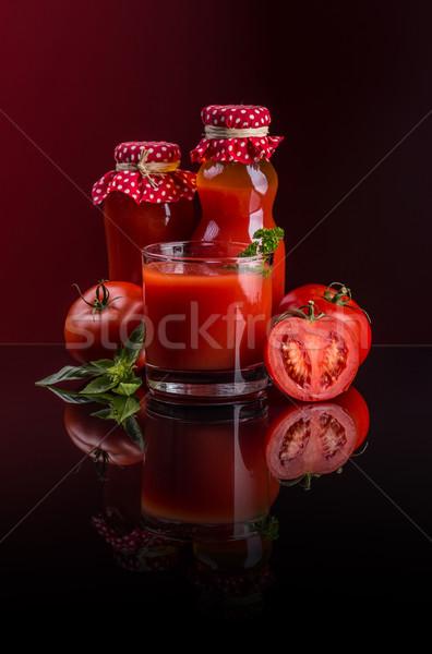 Suco de tomate caseiro orgânico garrafa vidro fundo Foto stock © grafvision