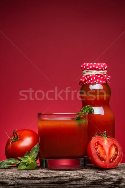 トマトジュース ガラス 素朴な 木製のテーブル 食品 ドリンク ストックフォト © grafvision