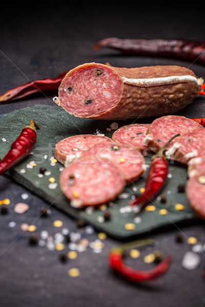 Szeletel szalámi fekete étel reggeli étel Stock fotó © grafvision