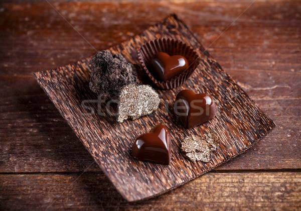 グルメ チョコレート 竹 プレート 中心 黒 ストックフォト © grafvision