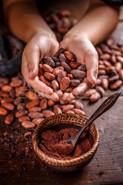 Stock foto: Kakaobohnen · Hand · halten · Schokolade