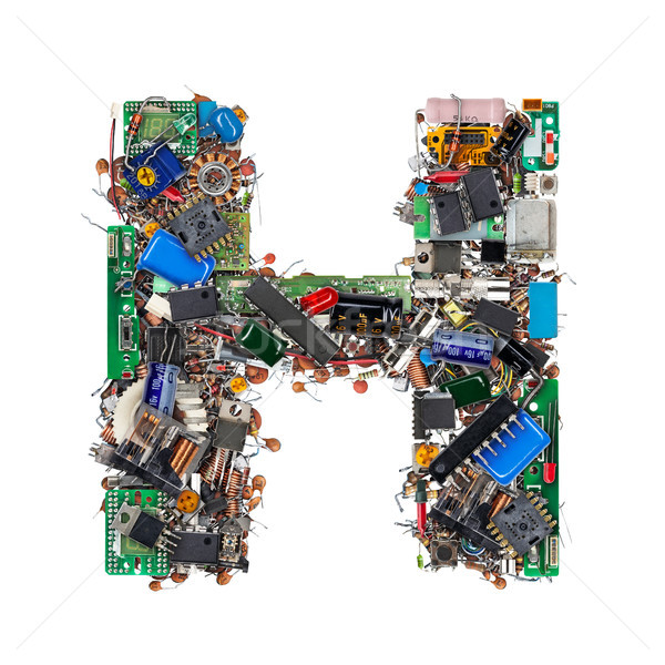 Stock photo: Letter H made of electronic components