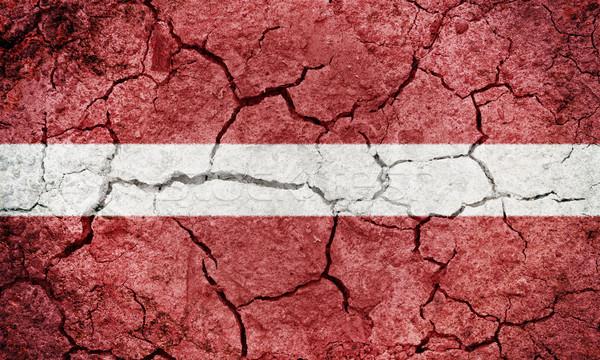 Republiek Letland vlag drogen aarde grond Stockfoto © grafvision