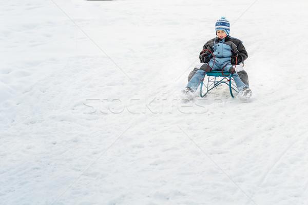 Pequeno menino trenó inverno tempo sorrir Foto stock © grafvision