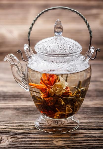 Bloei thee exotisch glas theepot bloem Stockfoto © grafvision