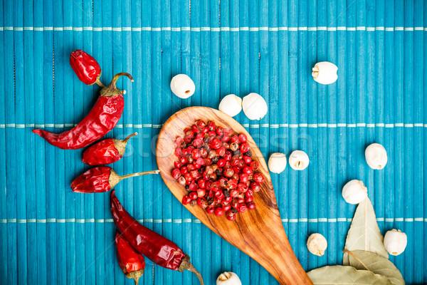Stockfoto: Chili · lotus · zaden · roze · peper · Blauw