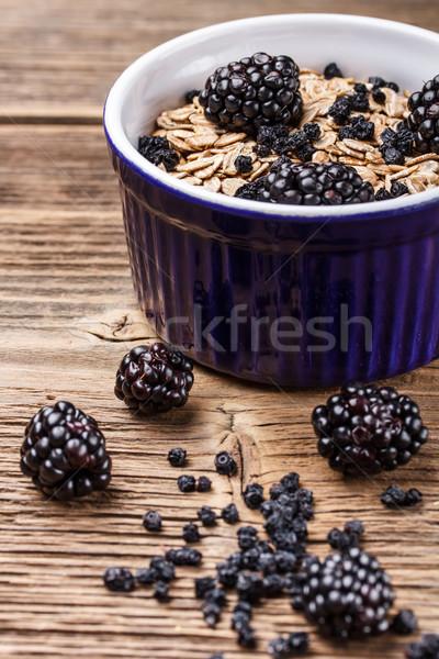 Teljes kiőrlésű müzli reggeli finom egészséges gyümölcsök Stock fotó © grafvision