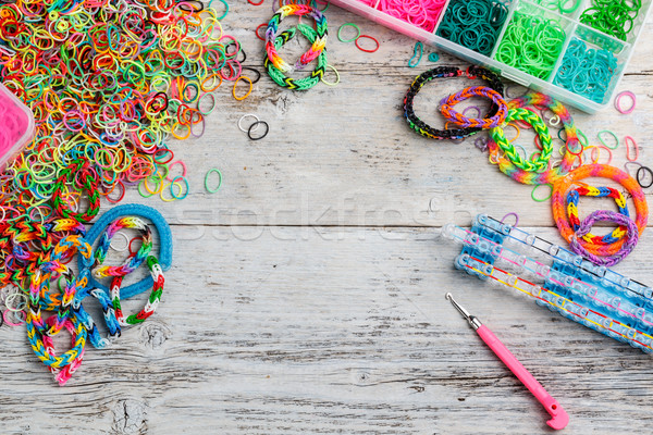 Photo stock: Caoutchouc · cadre · boîte · amusement · Rainbow · couleurs