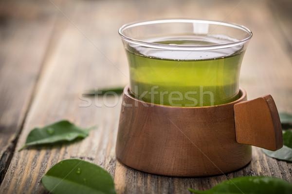 Chá verde copo rústico mesa de madeira natureza saúde Foto stock © grafvision